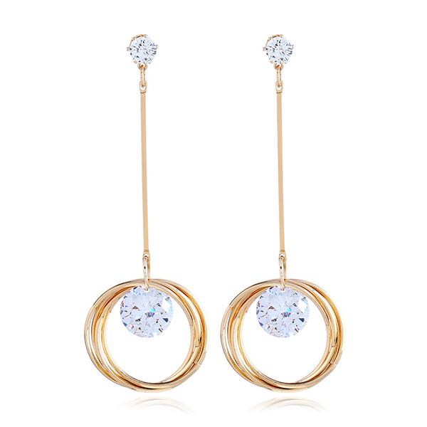 Серьги циркон кристалл мода блестящие серьги темперамент длинные кольца серьги преувеличены мотаться люстры преимущества свадьбы юбилей