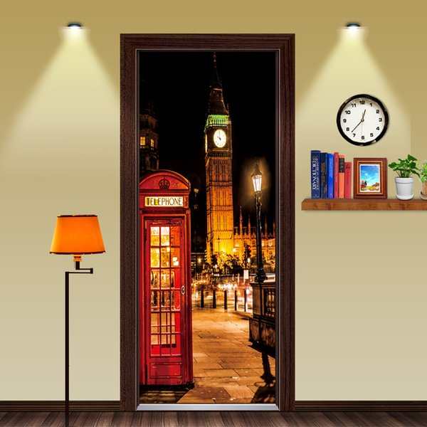 Fai da te British style London Red Cabina telefonica Sports Car Big Ben Classic Adesivo per porta DIY Murale Home Decoration Poster PVC adesivo impermeabile