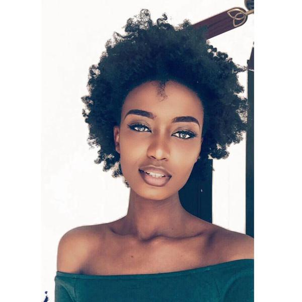 acconciatura di bellezza brasiliana Capelli africani Ameri taglio corto morbido parrucca riccia crespo Simulazione capelli umani afro breve parrucca riccia