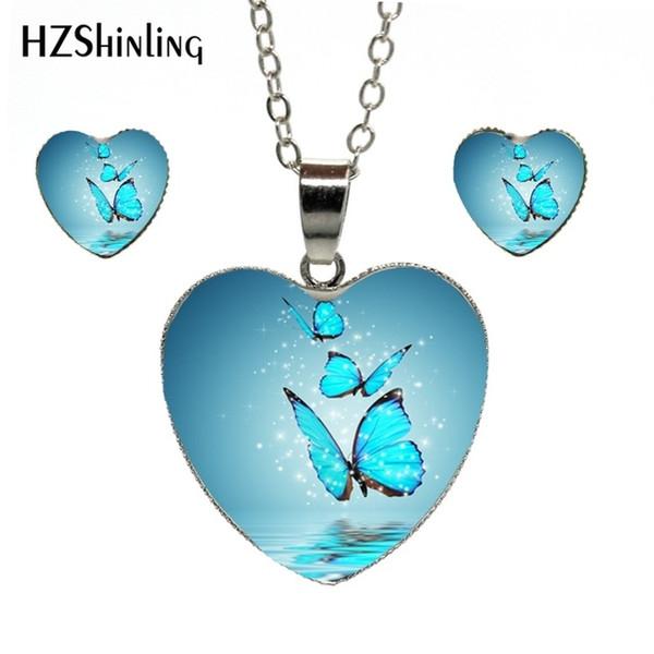 Neue Mode Lila Magie Schmetterling Herz Schmuck Set Schöne und Geheimnisvolle Schmetterling Fotos Anhänger Herz Halskette Schmuck