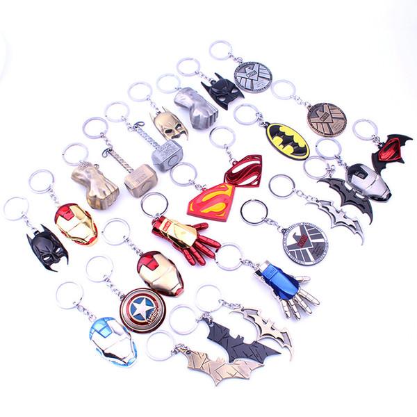 2019 NEW Marvel Avengers Thor's Hammer Mjolnir Keychain Captain America Shield Hulk Batman Mask KeyChain Keyrings 190426