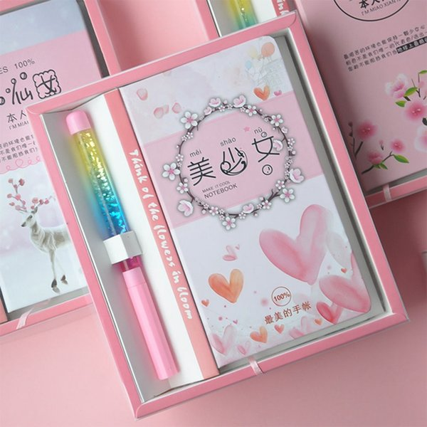 2019 New hot sale wind Cute Animals pink girl heart notepad notebook Gift Box Girl schoolgirl best love Stationary set