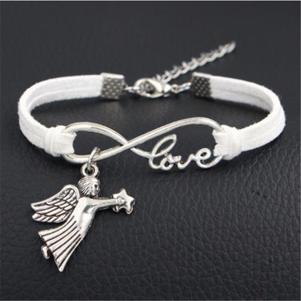 Punk Casual White Leather Suede Bracelets Bangles Silver Infinity Love Lovers Angel Fairy Star Wrap Wristband For Men Women Vintage Jewelry