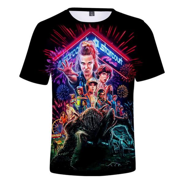 Coisas quentes do adulto 3D manga curta camisetas tshirt unisex T-shirt da escola secundária 3 TShirt O Coisas Estranhas fã Tee TShirt