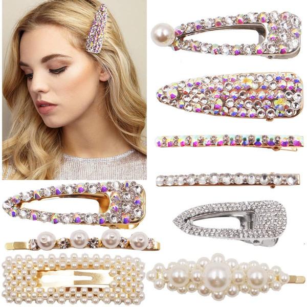9pcs paillettes strass brillant pinces à cheveux perles perles épingles à cheveux barrettes à la main cristal pinces crocodile accessoires de cheveux pour les filles