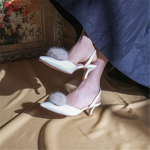 Newest White Wedding Sandal Shoes Mink Hair Decorated Bridal Shoe Prom Party Pump Evening Low Heels 5cm Size 34-39 Free Shipping
