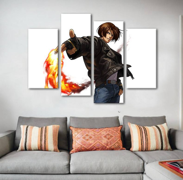 4pcs/set Unframed The King of Fighters Kyo Kusanagi Anime Poster Print On Canvas Wall Art Picture For Living Room Decoration