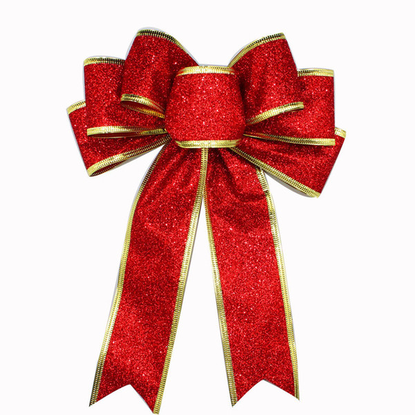 Geinne red, silver, gold, glitter, golden onion powder, Christmas Ribbon, bow tie, Christmas tree decorations