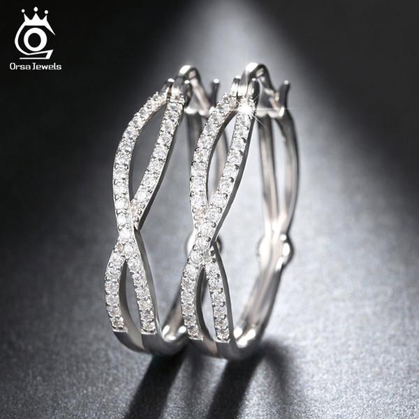 ORSA GIOIELLI Infinity Orecchino ad anello per le donne oro-colore / Rose Gold Colore / argento di modo di colore Cubic Zircon orecchini OE141