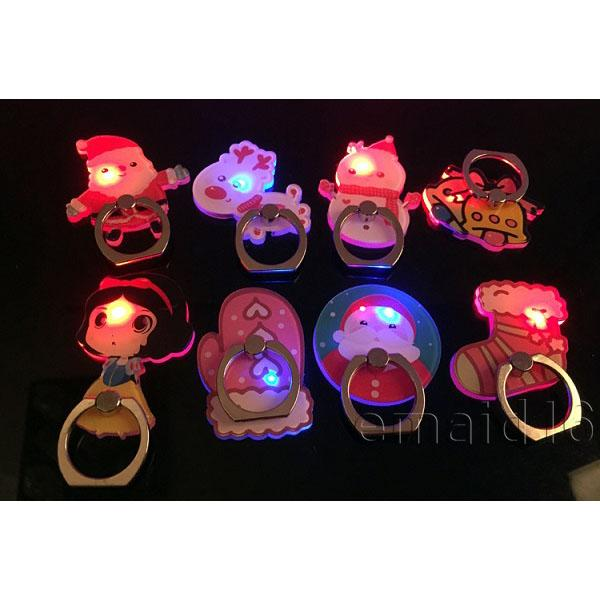 Nuovo regalo natalizio a LED luminescenza cellulare titolare anello portachiavi 360 rotante auto monta bracketing per iPhone