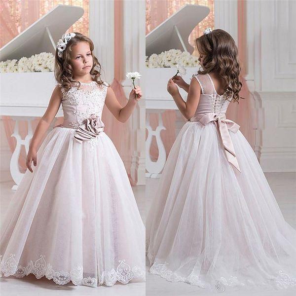 Formal Girls Pageant Dresses Children Sequins Beads Floor Length Flower Girls Dresses For Weddings Custom Made Kids Party Gowns