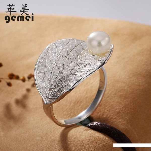 Gemei de haute qualité 925 bijoux en argent sterling grand arbre feuilles Mosaïque Perles de coquillages anneaux ouverts pour les femmes anneau de bijoux élégants