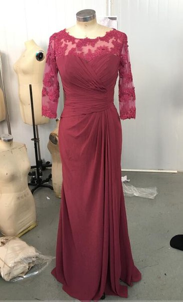 Elegant Maroon Mother Dresses Scoop Neckline 3/4 Long Sleeves Floor Length Lace Chiffon Formal Gowns Wedding Party Dresses