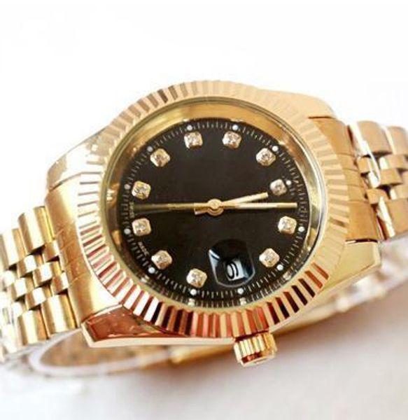 3A Известные часы бренда Gold President Day-Date Часы с бриллиантами Мужчины из нержавеющей стали Перламутр Бриллиант на лицевой панели Автоматические наручные часы
