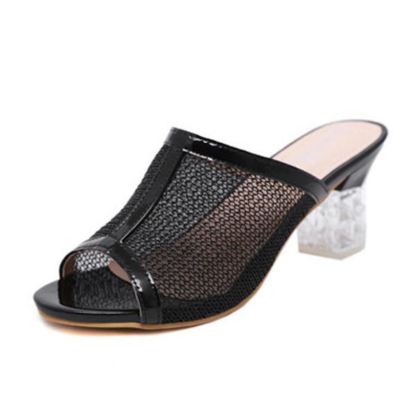 Wholesale net Sandal for women crystal High Heel 7cm Open Toe slip on Slide Dress Slipper