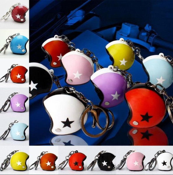 Motorcycle Helmets Keychain Keyring Cute Safety Helmet Car Key Chain Ring Holder Bags Pendant Gift camouflage star print keychain