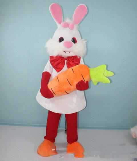 Discount factory sale lovely white bunny rabbit mascot costume with carrot for adults