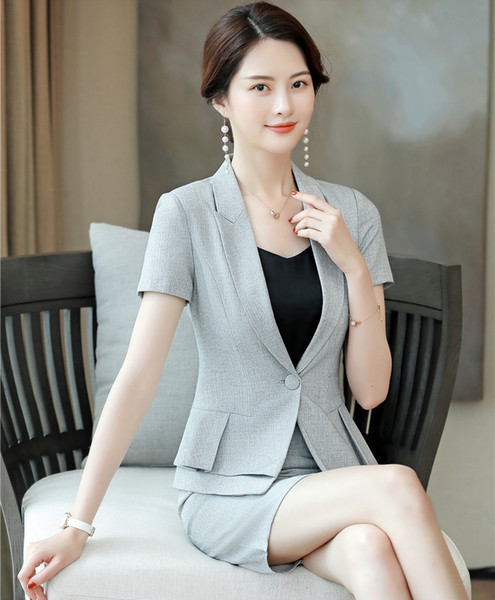 Formal Ladies Grey Blazer Women Business Suits with Skirt and Jacket Sets Work Wear Business Suits Office Uniform Styles