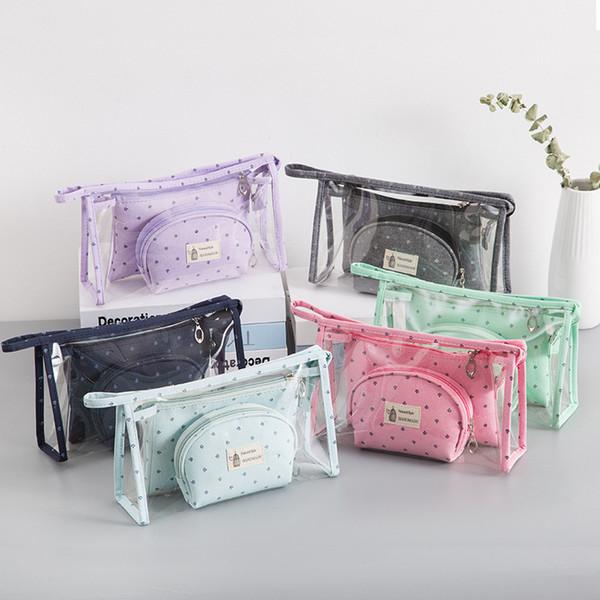 Kosmetiktasche Transparent PVC Dreiteiliger Anzug Reißverschluss Koreanische Version Tragbare Bonbonfarben Crown Print Wasserdicht Hohe Kapazität