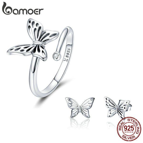 Großhandel authentische 925 Sterling Silber Schmuck Set Vintage Schmetterling Ringe Ohrringe Schmuck Sets Hochzeit Engagement Schmuck