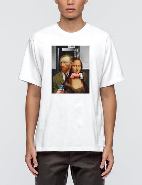Hahayule HJN Van Gogh Kidnapping Mona Lisa Pop Art Comic T-Shirt Mona Lisa Van Gogh Car Smoking Top Street Style Funny Tee
