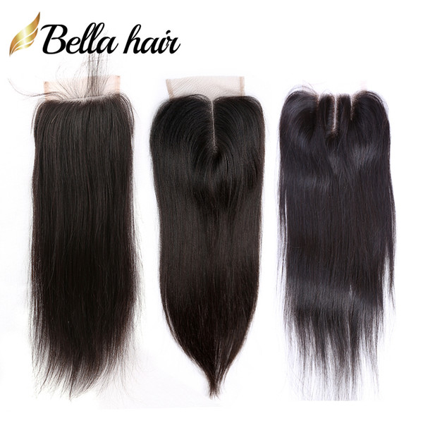 "top popular 100% Unprocessed Peruvian Malaysian Indian Brazilian Lace Closure Human Virgin Hair Closure 4x4 Silky Straight Top Closures 8""-20""Bella Hair 2021"