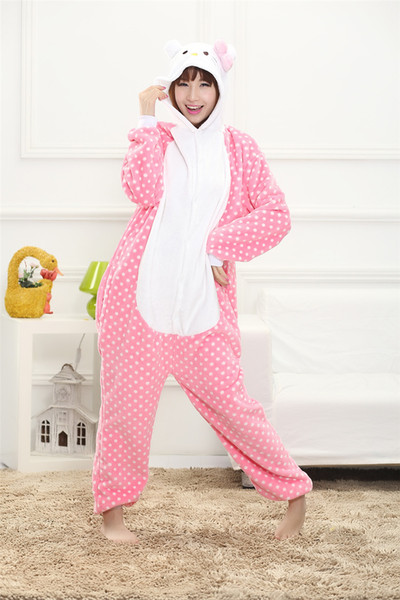 Lovely Dots Kitty Cat Cartoon Adult And Kids Winter Pajamas Anime Costume Flannel Cosplay Pyjamas Halloween Carnival Jumpsuit Onesie