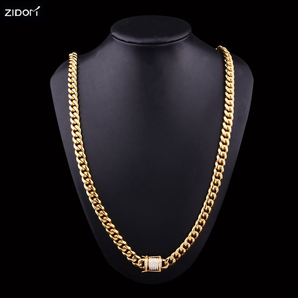 Stainless Steel Gold color Men hip hop necklace bling bling 10mm/76cm Miami cuban link chain necklaces fashion gifts jewelry