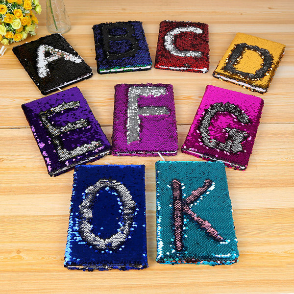 top popular students DIY Mermaid Magic Sequin Journal Notebooks letter Sequin Office Notepads A5 Diary Stationery School Supplies Gift drop ship 2021