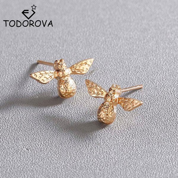 Todorova Tiny Fashion Bee Stud Earrings for Women Cute Insect Fly Honey Bee Earrings Stud Unique Jewelry Girls boucle d'oreille