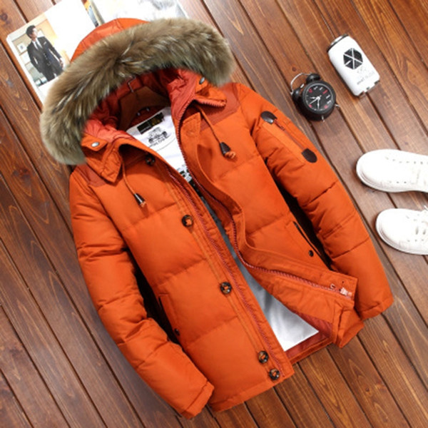 Chaqueta de invierno de los hombres de la marca de pato blanco abajo abrigos esquimales Chaqueta de los hombres caliente grueso de nieve Parka abrigo rompevientos con capucha caliente Parkas