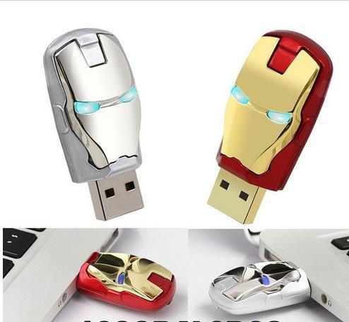 Design Real Capacity Avengers iron man Led lighting pen drive usb flash drive 32GB~128GB free shipping