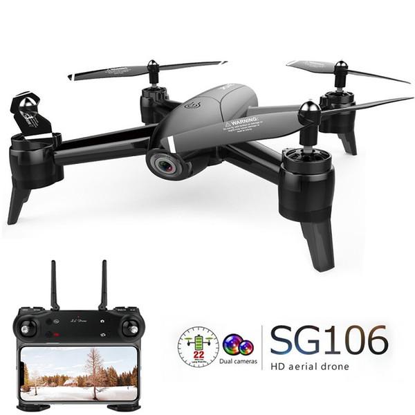 Em estoque Sg106 Drone Fluxo Óptico 1080 p Hd Dupla Câmera em Tempo Real de Vídeo Aéreo Rc Quadcopter Aircraft Posicionamento Brinquedos Rtf Criança C19041901