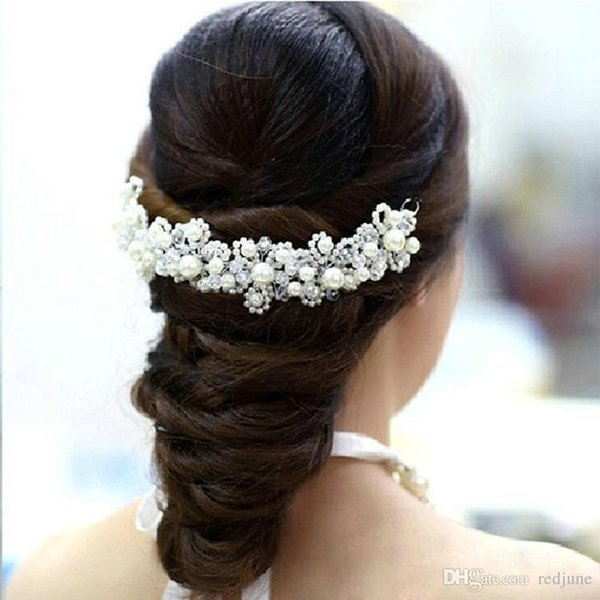 Novo cabelo coreano Branco pérolas de cristal noiva cocar de casamento mão acessórios vestido de jóias bridal cabelo