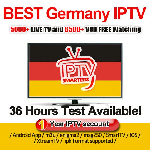 Germany Iptv 5000+ Live Channels Free Adults 6000+VOD Europe Arabic USA CA  Support Android&Iphone MAG M3U Iptv Subscription For Iptv Box Top Box Tv Tv