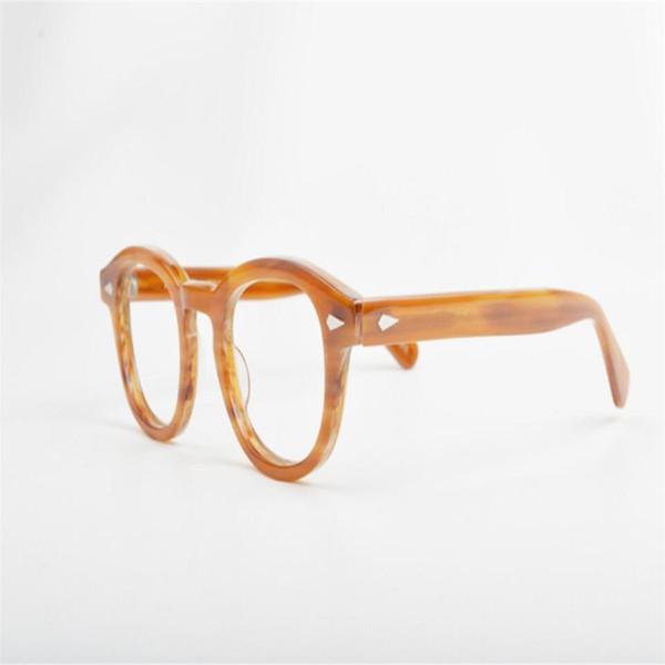 PLYMOTON Retro Unisex Branded Acetate Full Rim Round Frame Clear Lens Optical Eyeglasses Frame Leopard Myopia Goggle Eyewear