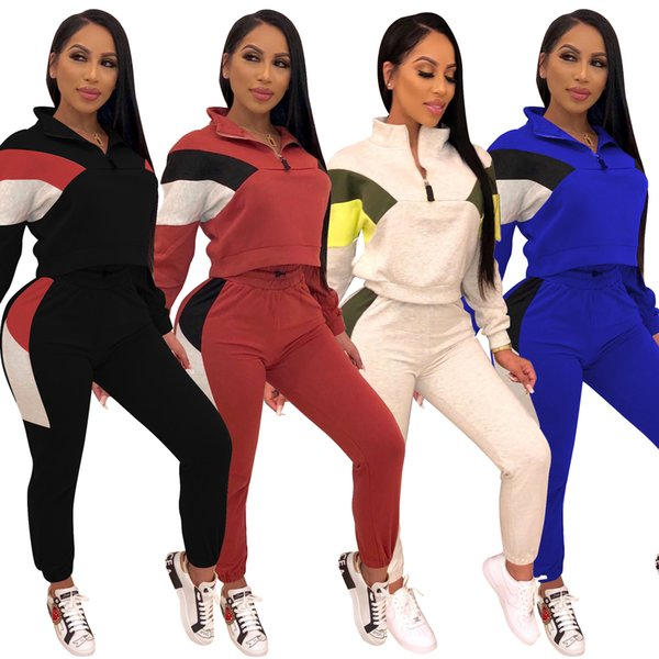 Full Sleeve Patchwork Sexy Autumn Winter Tracksuit Women Set Outfit Fashion Two Pieces Suits Casual Overalls Black Red Jumpsuits S-2XL