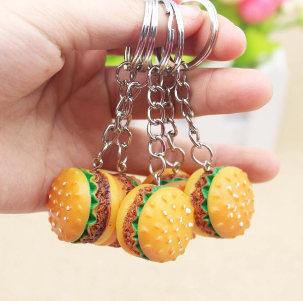 Simulation Hamburger Key Chain Creative Pendant Handmade Resin Food Car Key Ring Lovely Keychain Bag Charm Accessories gift Free Shipping