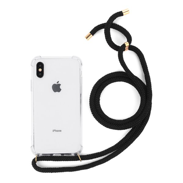 Necklace Holder Smart Phone Case with Cord Strap Transparent Silicon Cover Stylish Cross Body Lanyard Cord Cover for Iphone Samsung Huawei