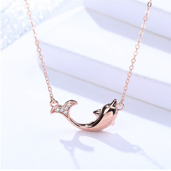 dolphin necklaces jewelry woman female real 925 sterling silver animal ocean fish rose gold plated choker human friend fashion cute new 6 pc