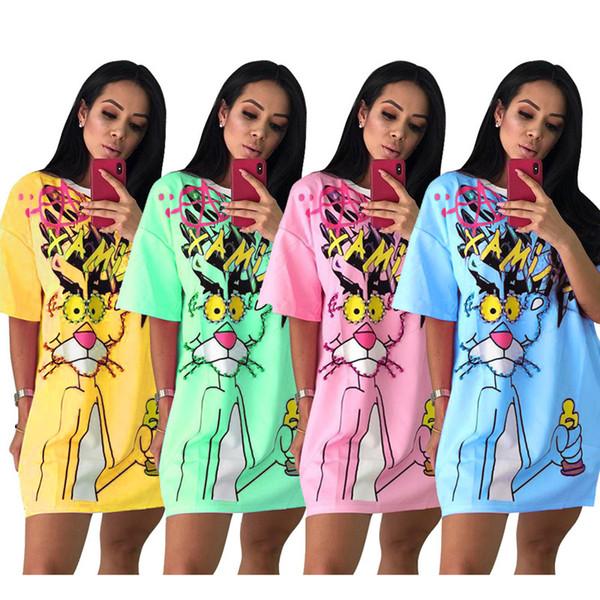 Women Designer Pearl Mini Dress leopard Loose Short Sleeve T-shirt Short Skirts Summer Clothing Plus size 2XL 75210 451