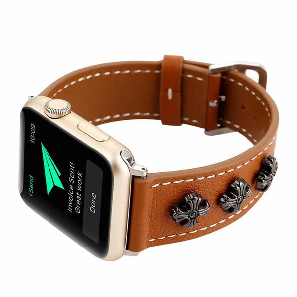 Pulseira por atacado para iwatch bandas 38mm bracelete de substituição regulável para a apple watch band 42mm simples casual couro estrela watch loops