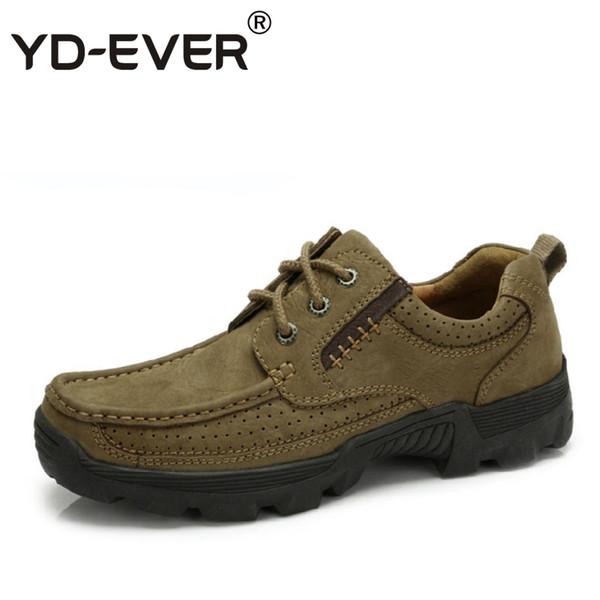 YD-EVER 100% sapatos de Couro Genuíno Dos Homens, oxfords Casual sapatos de Condução, sapatos de negócios, mocassim respirável ao ar livre Mocassins Macios 860