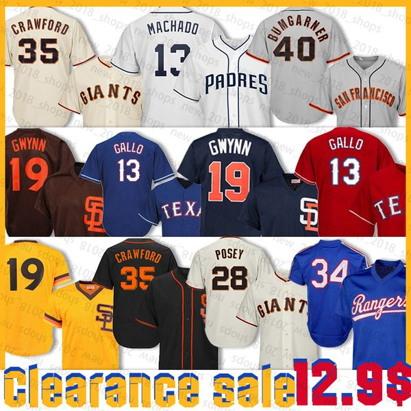 best selling 35 Brandon Crawford Jersey 13 Manny Machado 22 Will Clark 35 Brandon Crawford 40 Madison Bumgarner 19 Tony Gwynn 34 Nolan Ryan 13 Gallo Joey