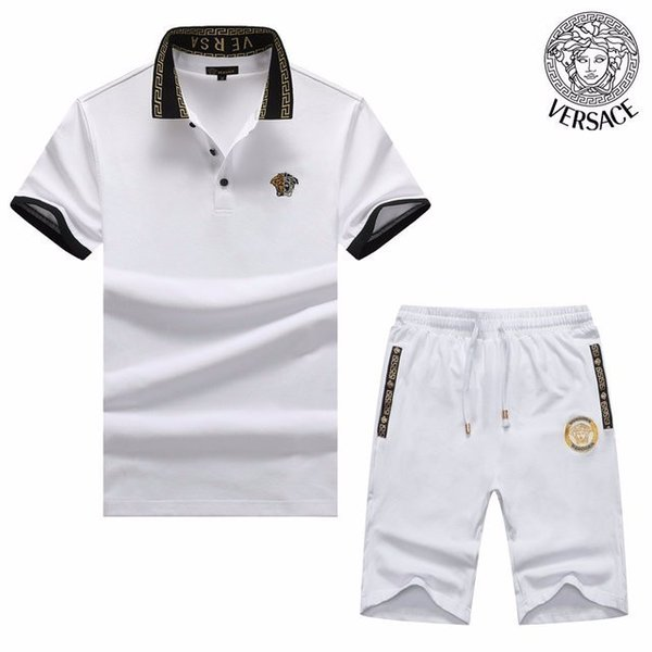 Summer 2019 high-end new cotton short-sleeved two-piece sportswear casual handsome hot sports suit personality men 608 8162