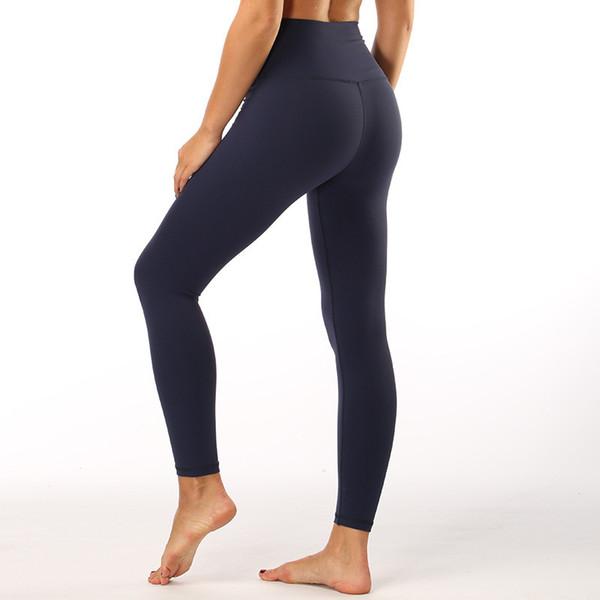 best selling LU-12 High Waist Women yoga pants Solid Color Sports Gym Wear Leggings Elastic Fitness Lady Overall Full Tights Workout