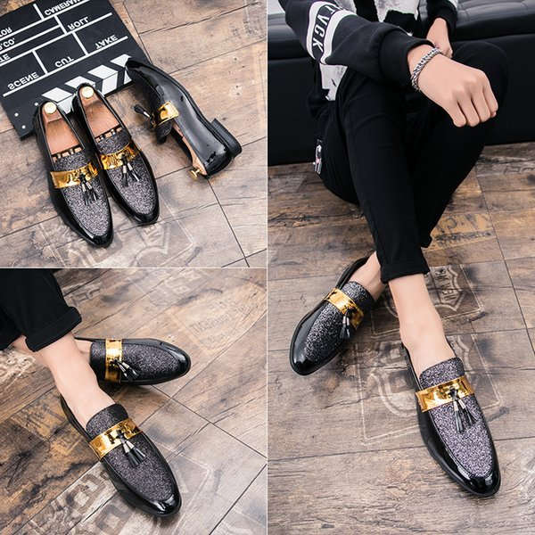 2019 Man Leather England Nightclub Leather Fashion Hot Selling Dress Shoes Casual Shoes Men