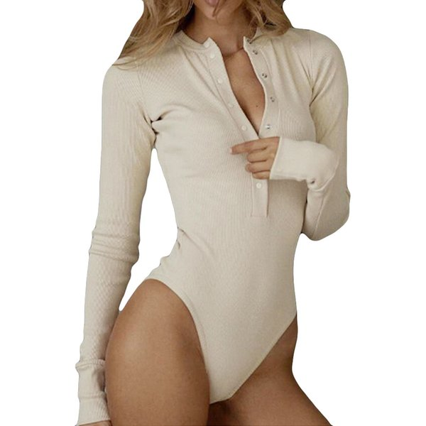 Sexy Bodysuit Women Long Sleeve Solid Button Pits Tight T-Shirt Blouse Tops Skinny Jumpsuit Summer Casual Rompers Womens