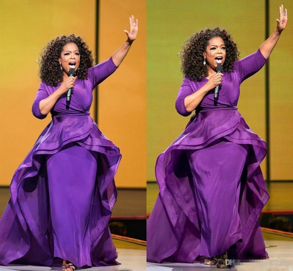 2019 Oprah Winfrey Middle East Celebrity Overskirt Evening Dresses Dubai Arabic Style Purple Half Sleeve Plus Size Formal Prom Gowns Long
