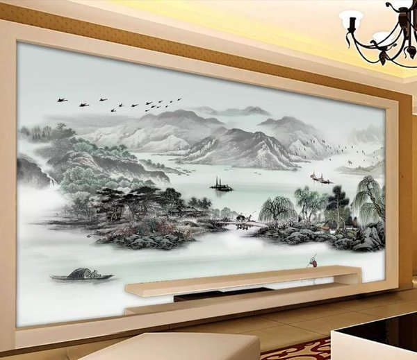 Carta da parati fotografica personalizzata 3D stile europeo inchiostro paesaggio pittura grande murale carta da parati per camera da letto soggiorno parete